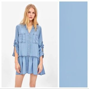 NWT. Zara Blue Mini Shirt Dress. Size XS.